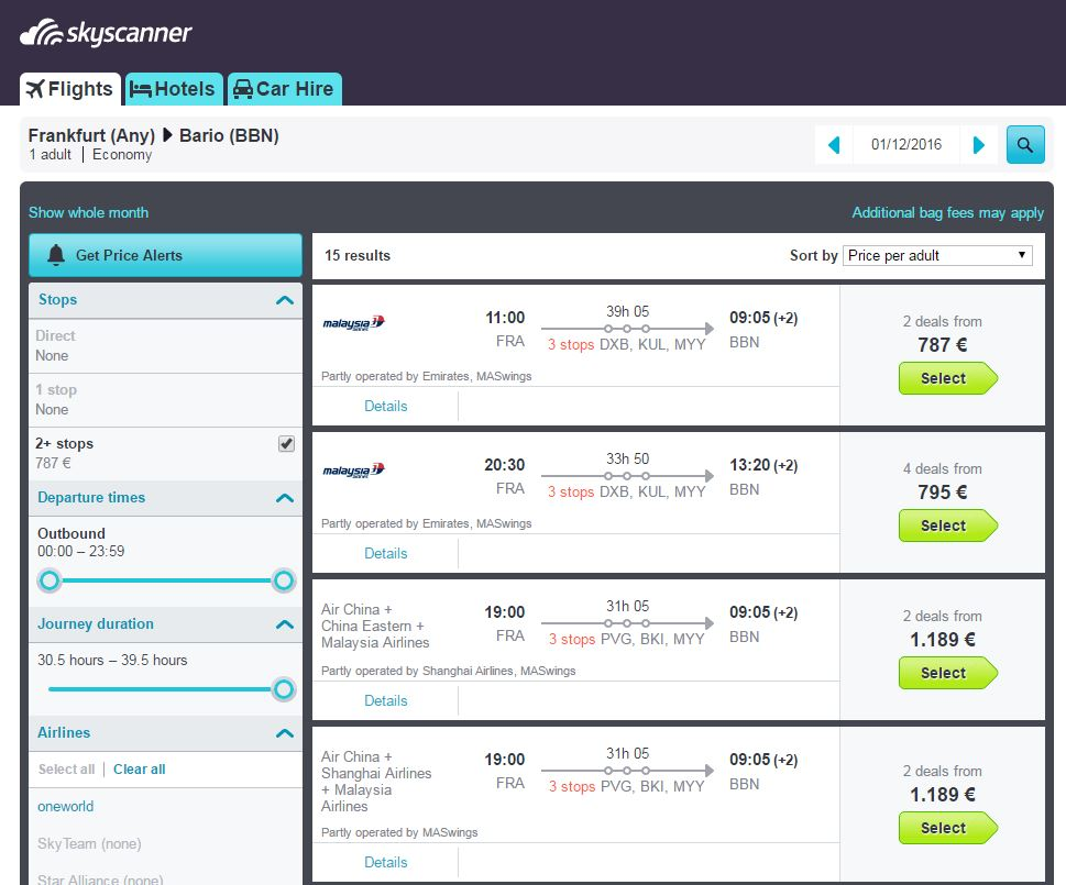 Skyscanner's point to point flight planner.